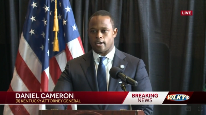 Kentucky Attorney General Daniel Cameron give a statement on the findings of the grand jury. (Photo: WLKY Screen Shot) -