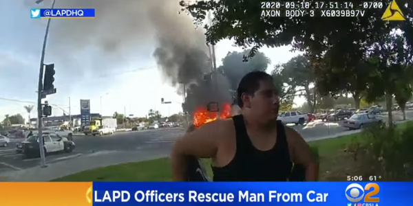 LAPD Officers Rescue Disabled Man from Burning Car
