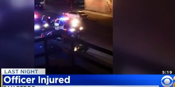 An officer with the Los Angeles Police Department was attacked inside a division station...