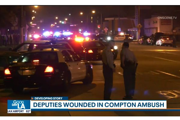 Two deputies with the Los Angeles County Sheriff's Department who were shot in an ambush attack over the weekend are expected to recover, according to the agency. - Screen grab of news report.