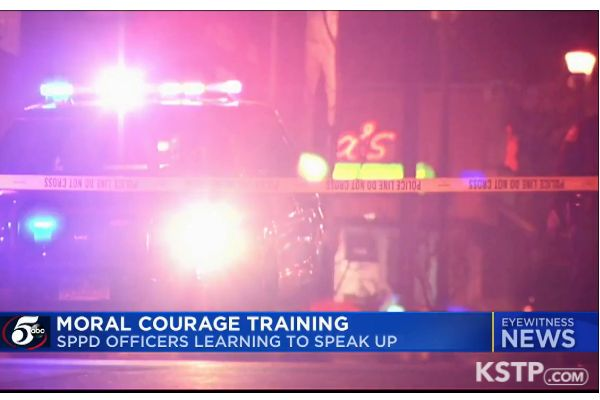 """Officers with the St. Paul (MN) Police Department will now be required to undergo what is being called """"Moral Courage Training"""" intended to enable them to stand up and say something to a colleague when they observe behavior that is outside of policy or procedure. - Screen grab of news report."""