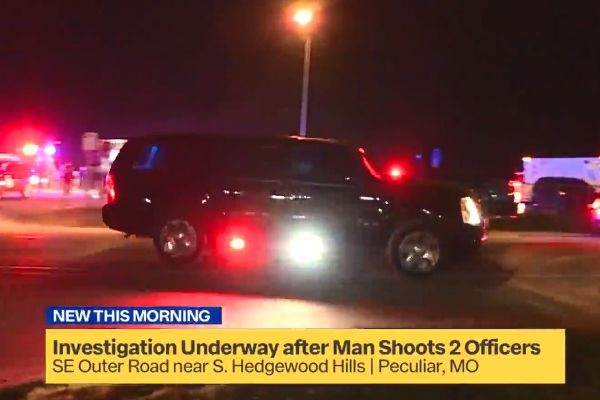Two officers with the Peculiar (MO) Police Department who were shot and wounded are expected to fully recover from injuries sustained during a gun battle on Saturday night. - Screen grab of news report.