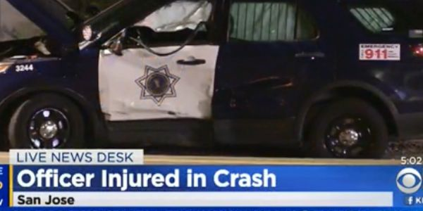 An officer with the San Jose (CA) Police Department was injured when a driver ran through a stop...
