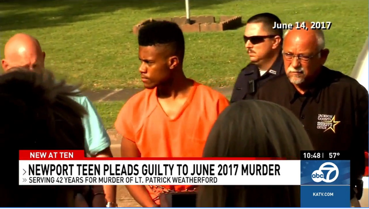 Derrick Heard was 16 when he shot and killed Lt. Patrick Weatherford of the Newport (AR) Police Department. (Photo: KATV Screen Shot) -
