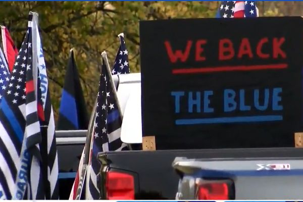 A group of more than 1,000 private citizens gathered in the town of Hilton (NY) on Sunday afternoon to show their support for law enforcement. - Screen grab of news report.