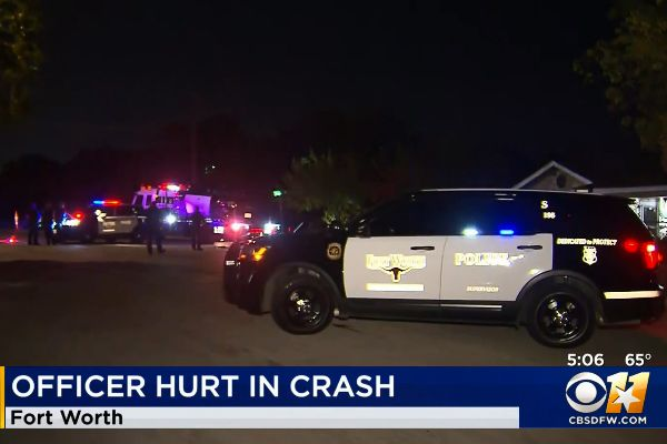 An officer with the Fort Worth (TX) Police Department is now recovering from injuries sustained when a civilian vehicle collided with his patrol car on Wednesday night. - Screen grab of news report.