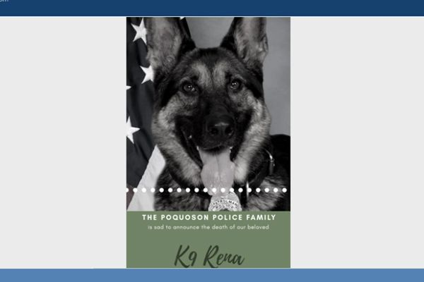 "Officers with the Poquoson (VA) Police Department are now mourning the passing of K-9 Rena, who died on Sunday afternoon. The department said Rena's cause of death was ""unexpected, but due to natural circumstances."" - Image courtesy of the Poquoson (VA) Police Department / Facebook."