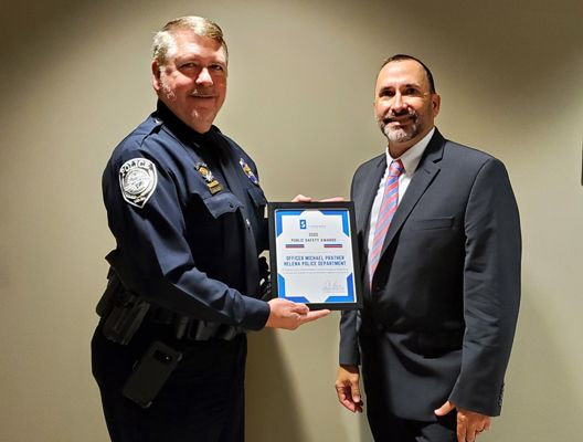 Officer Michael Prather of the the Helena (AL) Police Department is being praised for conducting life-saving CPR on individuals in medical distress for three consecutive years. - Image courtesy of Helena PD / Twitter.