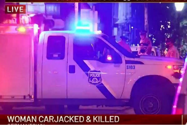 Officers with the Philadelphia Police Department shot and killed a man who had allegedly murdered a woman and stolen her automobile early Thursday morning. - Screen grab of news report.