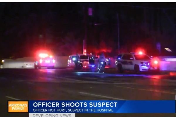 An officer with the Phoenix (AZ) Police Department shot and wounded a knife-wielding man as he moved toward the officer after being told the drop the weapon. - Screen grab of news report.