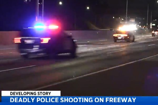 The California Highway Patrol confirmed on Monday morning that a fleeing suspect was fatally shot during a confrontation after a lengthy vehicle pursuit that ranged from Orange County to San Diego in the early hours of Sunday morning. - Screen grab of news report.