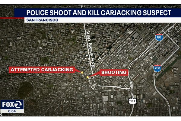 At least one officer with the San Francisco Police Department discharged a sidearm in response to a suspected carjacking incident, fatally wounding the alleged offender. - Screen grab of news report.