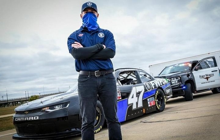 Nascar driver Kyle Weatherman drove the Fort Worth Police Officers Association Camaro in a weekend race. (Photo: FWPOA) -