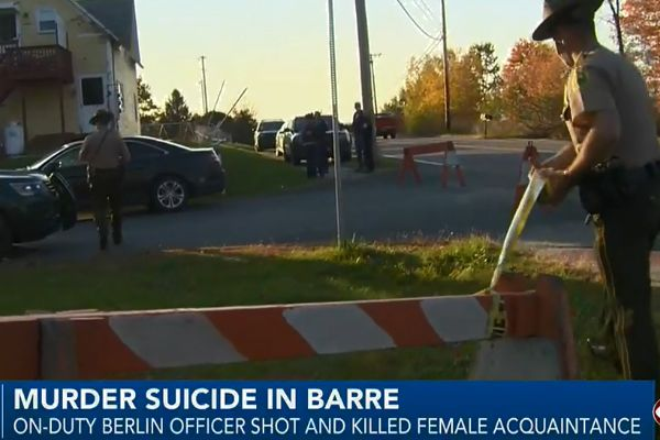 An officer with the Berlin (VT) Police Department reportedly shot a female acquaintance and then turned the gun on himself, dying by suicide at the scene on Monday afternoon. - Screen grab of news report.