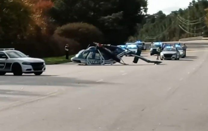 A North Carolina Highway Patrol helicopter crashed in Raleigh Sunday. No injuries were reported. (Photo: WTVD screen shot) -