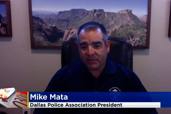 """Dallas Police Association President Mike Mata told CBS News, """"This narrative that the police are the public's enemy has to stop because it is not true,."""" - Screen grab of news report."""