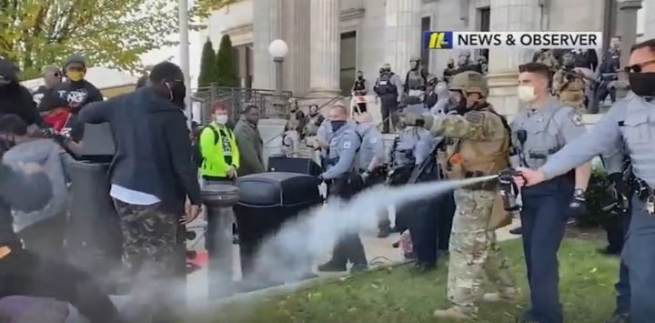 The suit accuses officers of excessive force when they pepper-sprayed the participants of a pre-election day march in Graham, NC. (Photo: ABC11) -