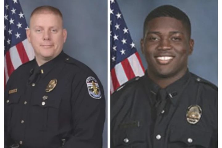 Maj. Aubrey Gregory and Officer Robinson Desroches were shot Sept. 23. (Photo: LMPD) -