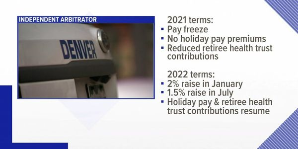 Graphics showing terms of Denver police pay agreement. (Photo: Screen Shot from 9 News)
