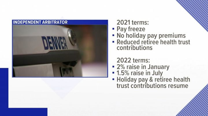 Graphics showing terms of Denver police pay agreement. (Photo: Screen Shot from 9 News) -