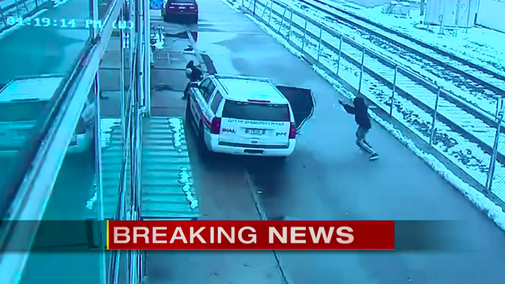 Officer Gerasimos Athans came under fire when he opened his patrol car to take out the suspect. (Photo: WPIX screen shot) -