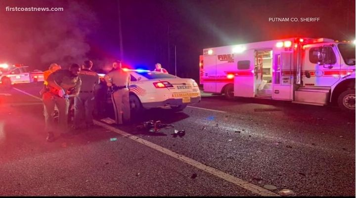Two Putnam County, FL, sheriff's deputies were injured Tuesday night when their patrol vehicles collided. (Photo: First Coast News Screen Shot) -