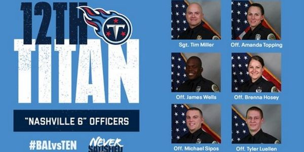 的Tennessee Titans will honor the six 纳什维尔 officer who evacuated residents before the...