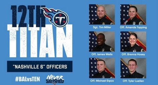 The Tennessee Titans will honor the six Nashville officer who evacuated residents before the bombing. (Photo: Twitter) -