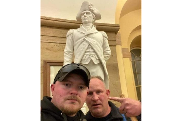 """Photo showing Rocky Mount, VA, OfficerJacob Fracker and Sgt. Thomas """"T.J."""" Robertson inside the U.S. Capitol during the Wednesday Jan. 6 riot. (Photo: Federal Court Exhibit) -"""