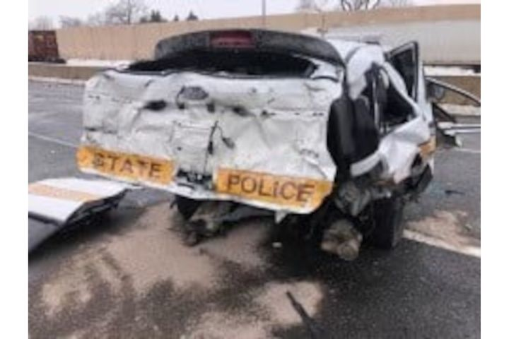 An Illinois State Police trooper was serious injured when his vehicle was struck while he was working a crash scene Monday. (Photo: ISP/Facebook) -
