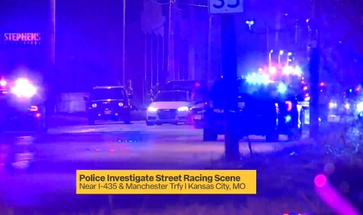 """Kansas City officers ended a """"sideshow"""" Tuesday night using spike strips. (Photo: Fox 4 Screen Shot) -"""