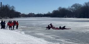 """NJ Chief """"Claws"""" Across Ice to Rescue Mother and Toddler from Frozen River"""