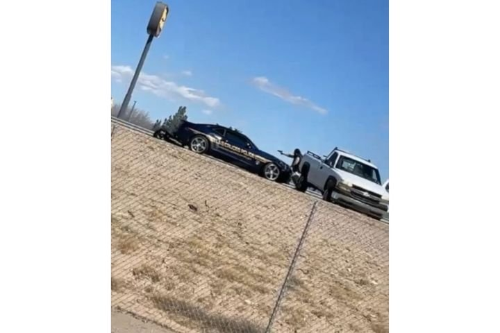 Suspect in murder of state police officer engaging law enforcement at end of pursuit. Suspect was killed. One officer was hit. (Photo: KFOX screen shot) -