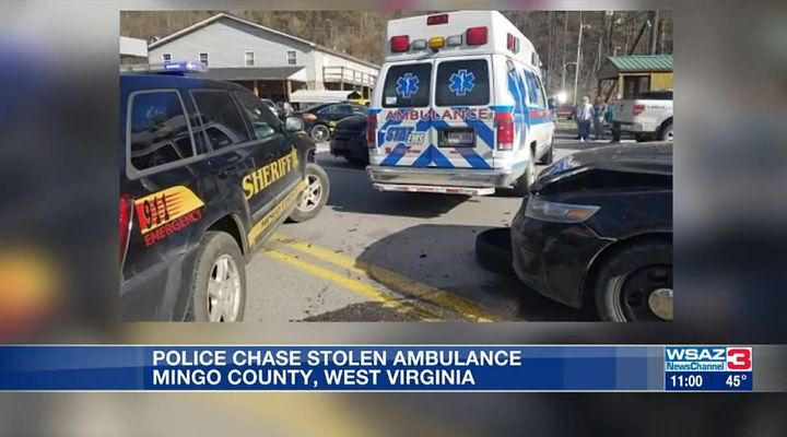 The Mingo County Sheriff's Office says a man stole an ambulance in Kentucky and drove it into West Virginia, leading deputies on a 20-minute pursuit. (Photo: WSAZ screen shot) -