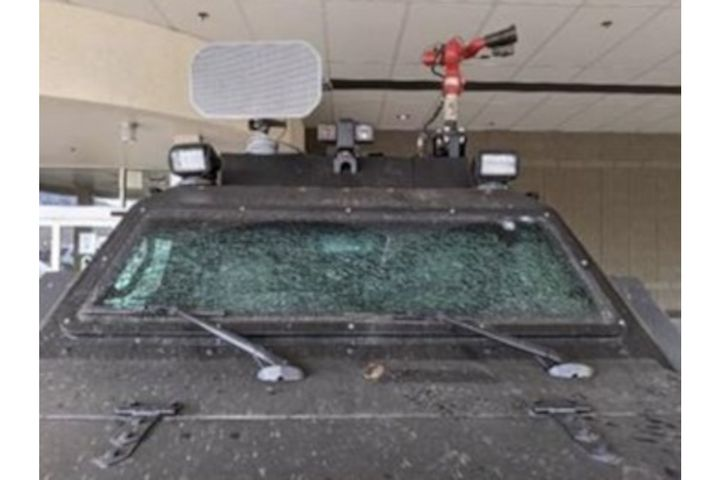 Boulder Police say an armored rescue vehicle sustained heavy damage during the incident. (Photo: Boulder PD) -