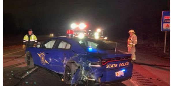 A Tesla on autopilot smashed into this Michigan State Police car Wednesday. (Photo: MSP)