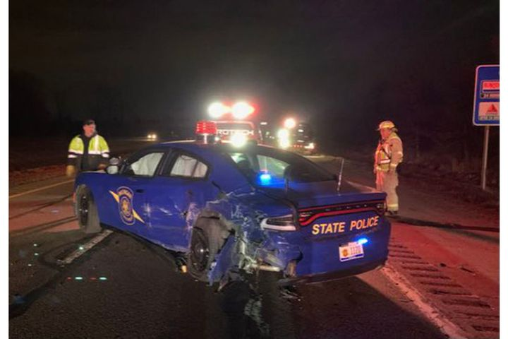 A Tesla on autopilot smashed into this Michigan State Police car Wednesday. (Photo: MSP) -