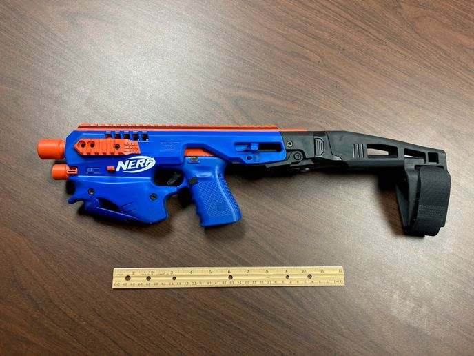 This modified Nerf gun housinga Glock 19 pistol was found during a North Carolina drug raid. (Photo: Catawba County SO) -