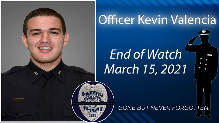 Officer Kevin Valencia of the Orlando Police Department died Monday from injuries suffered in 2018 when he was shot in the head. (Photo: Orlando PD/Twitter) -