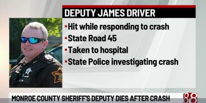 Deputy James Driver, 38, was responding to a crash around 4 p.m. Monday when he was killed in an accident. (Photo: WISH Screen Shot) -