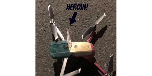 Simi Valley, CA, officers found this drone with attached suspected heroin during a narcotics...