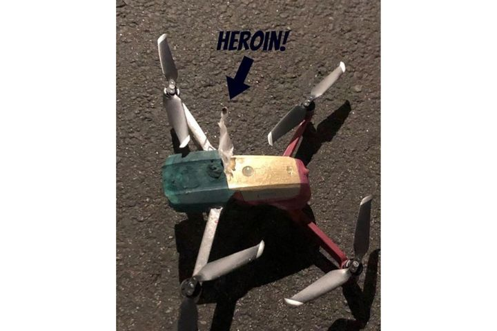Simi Valley, CA, officers found this drone with attached suspected heroin during a narcotics arrest. (Photo: Simi Valley PD/Instagram) -