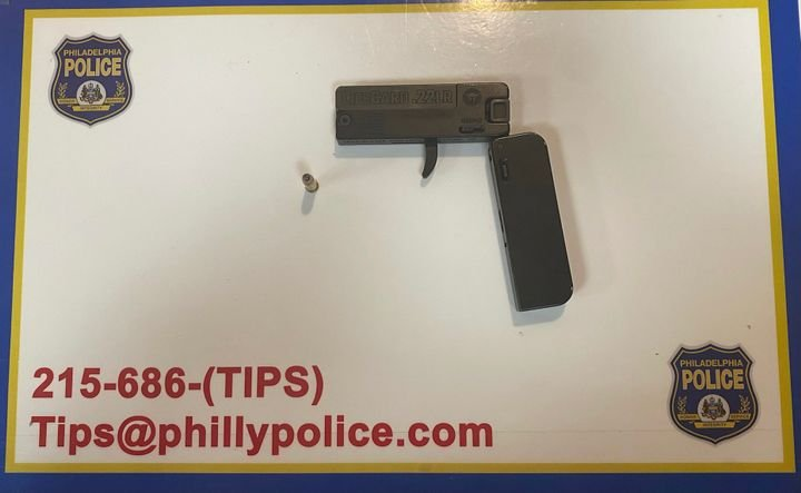 Philadelphia police recently took this .380 ACP derringer-style pistol disguised to look like a cellphone off of a woman at a traffic stop. -