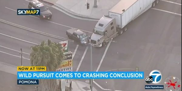 Murder Suspect Slams into Big Rig Truck at End of CA Vehicle Pursuit