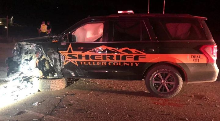 Officials say asuspected DUI driver crossed over the median and struck a Teller County Sheriff's deputy head-on. (Photo: Teller County SO) -
