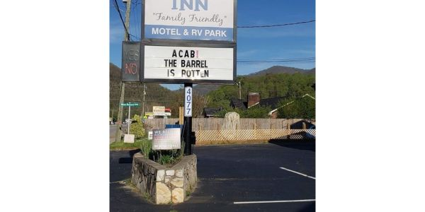"A North Carolina motel and RV park posted this message calling all officers ""bastards."" (Photo:..."