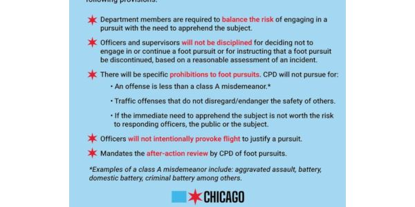 Chicago's new foot pursuit policy is designed to restrict officers from running after suspects.