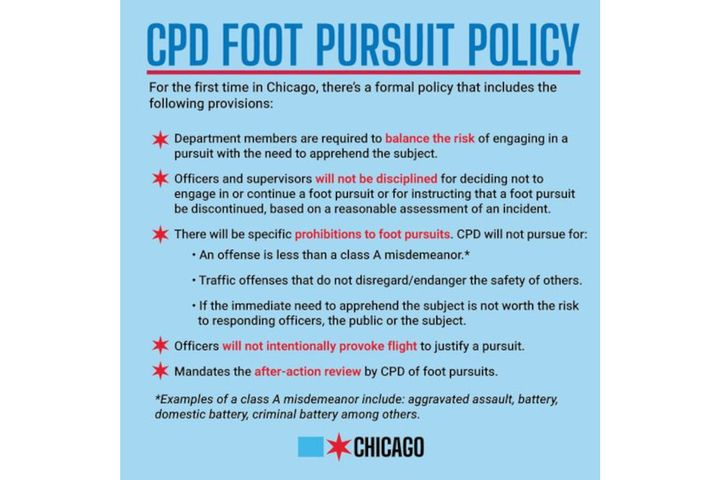 Chicago's new foot pursuit policy is designed to restrict officers from running after suspects. -