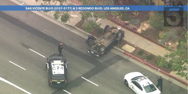 CHP Vehicle Pursuit Ends in L.A. with PIT Maneuver, Flipped Pickup