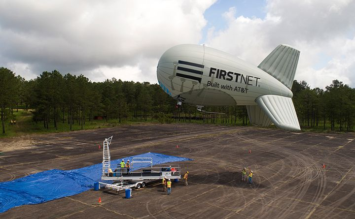 The FirstNet One aerostat can replacemultiple ground-based portable cell sites, making them available to deploy elsewhere. (Photo: FirstNet) -